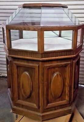 "NICE OAK WOOD AND GLASS JEWELRY DISPLAY CABINET DOME SHAPE CASE 36""x36""x47"""