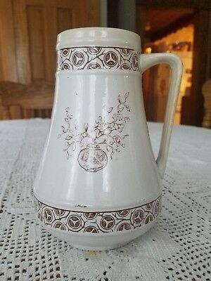 1881 Antique Aesthetic Brown Transferware Pitcher Jug Pottery Ironstone England