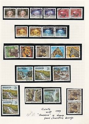 """Rhodesia Twenty - Four Postally used stamps """"Rhodesia' removed from Cancels lion"""
