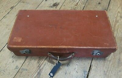 Antique vintage leather suitcase luggage travel storage piece longer case