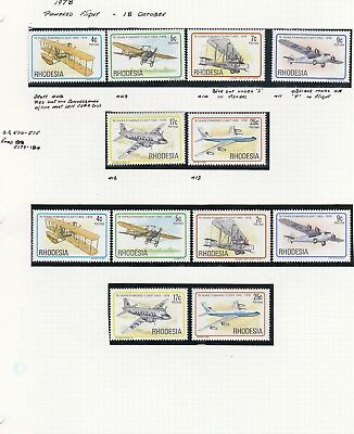 Rhodesia Twelve Powered Flight Mint never hinged Stamps Three varieties