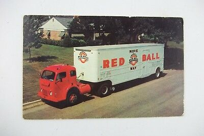 Vintage Postcard 1968 RED BALL Mover Moving Truck