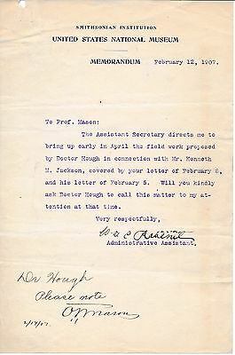 Smithsonian Institution - (5) letters by museum's important scientists/scholars