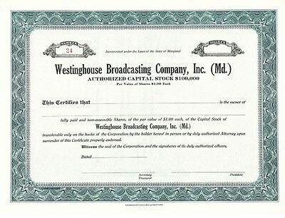 Westinghouse Broadcasting Co specimen stock certificate from Maryland