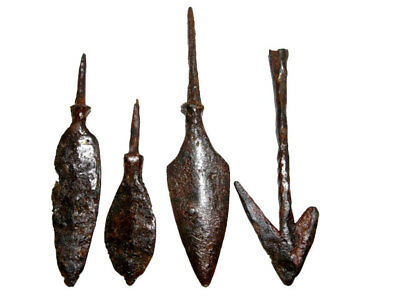 LOT OF 4pcs. ANCIENT IRON ARROW HEADS, BROAD  VARIETY and GOOD CONDITION+++