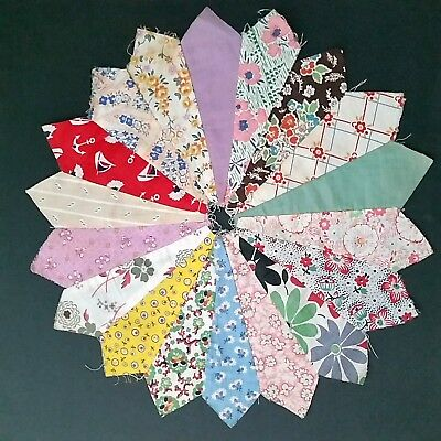 Vintage 1930s Feedsack Dresden Plate Quilt Pieces