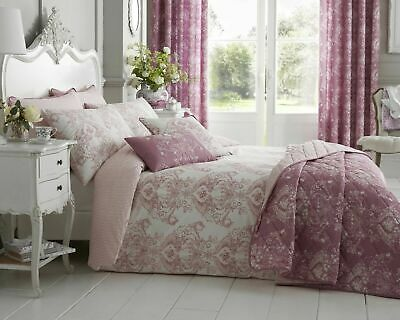 Alan Symonds Toile Pink Luxury Duvet Cover Set Quilted Throw 200 TC Cotton Rich