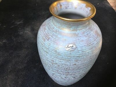 "Stangl Pottery Vase Brushed Antique Gold Turqouise 9"" Tall Trenton NJ #3979"