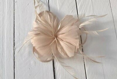 Nude Feather Fascinator Hair Clip Ladies Day Races Party Wedding