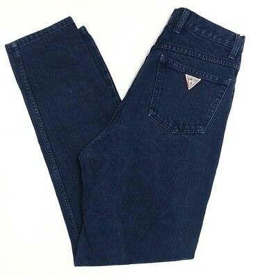 Vtg 80s 90s GUESS JEANS USA Women's Slim Fit Indigo Blue Jeans Size 30 Triangle