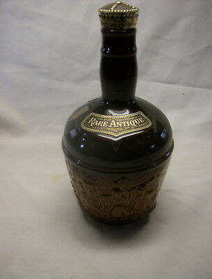 2 Tone Brown Ky Whiskey Ceramic Jug Decanter w/Train Design by Rare Antique 60's