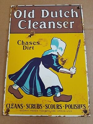 Old Dutch Cleanser Porcelain Sign Polishes Kitchen Bathroom Vintage Home Decor