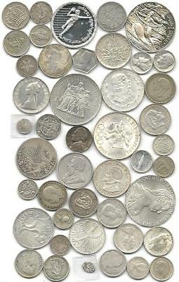 """World (45) Forty Five Old Silver Coins  #4700 """"great Big Lot & Free Usa Ship"""""""