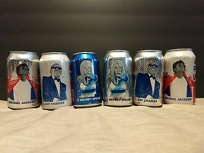 Pepsi Generation Soda Can Set All 6 unopened Mj, Britney, Ray Charles