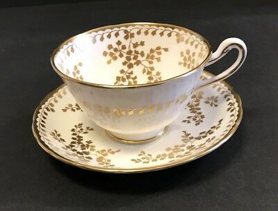 Royal Chelsea White Gold Leaf Teacup And Saucer
