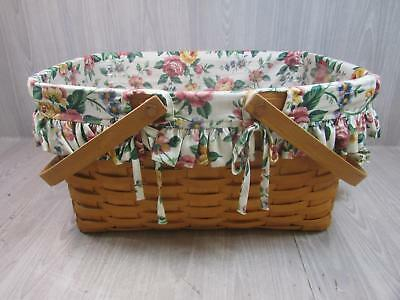 Longaberger Picnic Basket With Handles Cloth Liner And Plastic Protector