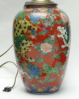 ANTIQUE 19c QING CHINESE RED FALANGCAI FOO DOG DECORATED VASE CONVERTED LAMP