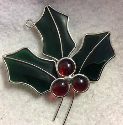 CUTE! Vintage Stained Glass Sun Catcher Handmade soldered 4.25x5 Holly & Berries