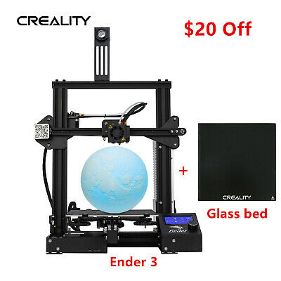 Creality Ender 3 3D Printer 220X220X250mm DC 24V + Glass Print Bed Heat Plate