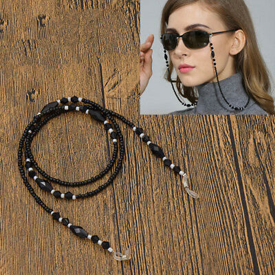 Black Beaded Eyeglass Chain Cord Reading Glasses Eyewear Spectacles Holder