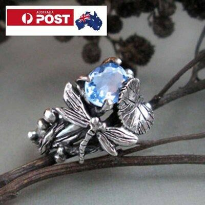 925 Sterling Silver Aquamarine Blue Gemstone with Dragonfly on Band