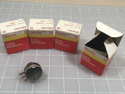Lot of 10 OHMITE CLU-1021 1K OHM 2 WATT POTENTIOMETER  TYPE AB SD ADJ LOCKING
