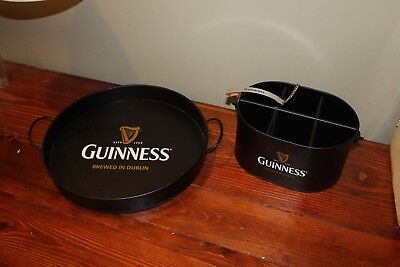 Guinness Beer Serving Tray and 6 Beer Guiness Caddy with Opener
