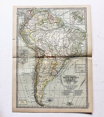 1906 South America Map Brazil Venezuela Colombia Peru Steamship Routes ORIGINAL