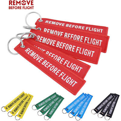 2PCs Fabric Key Ring Remove Before Flight Keychain Pilot Tag Luggage Bag Keyring