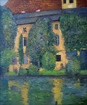 Gustav Klimt Schloss Kammer am Attersee Repro, Hand Painted Oil Painting 20x24in