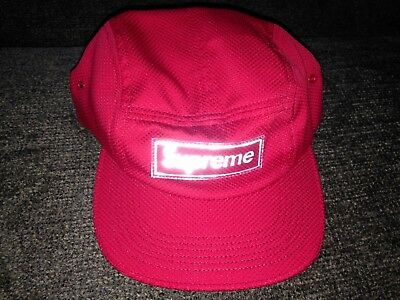 SUPREME NYLON PIQUE Camp Cap Hat Brand New Red Rubber Box Logo SS18 ... b766cce64d48