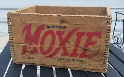 Moxie Wooden Advertising Crate Vintage