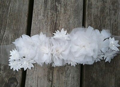 White by Vera Wang floral wedding belt bridal sash organza rhinestone 3D flowers