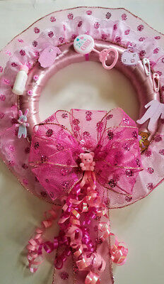 """Baby Girl Shower Gift for Wall or Door Size 14"""" x 23"""" to end of ribbon   F/S"""