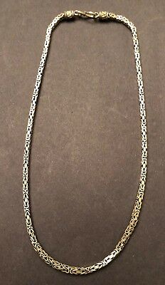 """Beautiful 22"""" L Solid Fancy STERLING SILVER Bali Square BYZANTINE Necklace 925"""