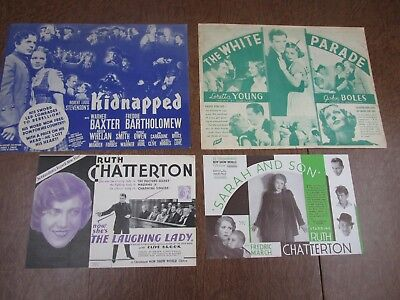 Vintage  lot of 4      1930's & 40's     Movie Paper Flyers