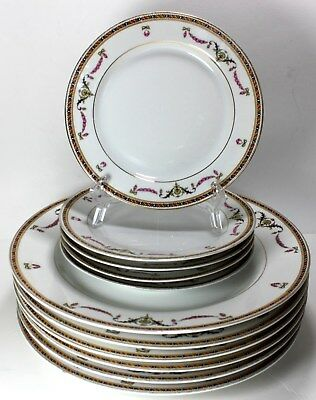 Antique  H& Co SELB Bavaria china dinner dessert plates 11 pieces