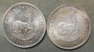 South Africa 1947 & 1948 five shillings KM-31 Toned Silver