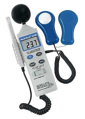 """PeakTech 4 in 1"""" multifunction environment meter with light meter, sound level 1"""
