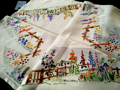 Stunning Cottage Gardens/Arch ~ Vintage Heavily Hand Embroidered Tablecloth