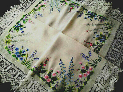 Superb Primroses/Foxgloves+ ~ Hand Crochet Inserts/Edge ~ Vint Hand Emb T/Cloth