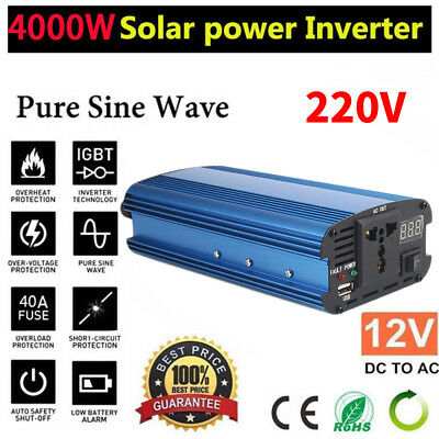 4000W Power Inverter LED Display 12v/24V DC to 220V AC Pure Sine Wave Converter