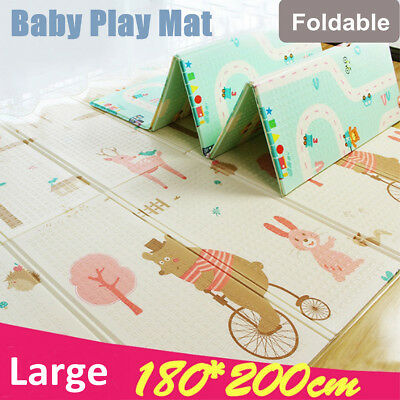 Foldable Baby Kids Floor Play Mat Rug Alphabet Animal Picnic Cushion Crawling