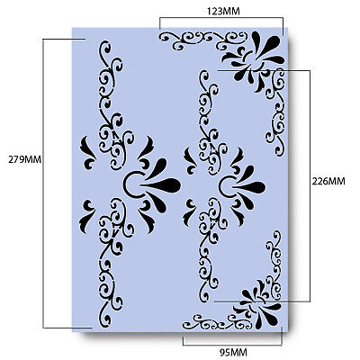 Pattern Stencil CORNERS & KEYHOLES A4 Mylar Shabby Chic For Furniture Fabric 001