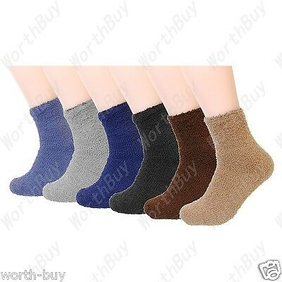 New 6 Pairs Mens Soft Cozy Fuzzy Winter Warm Solid Slipper Crew Socks Size 9-13