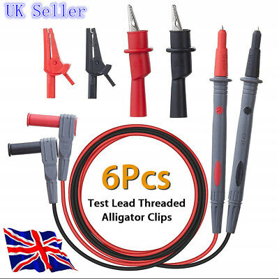 6Pcs Test Lead Probes Set Alligator Clips For Universal Digital Multimeter Meter