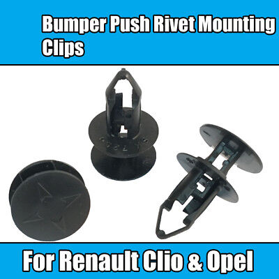 10x Clips For Renault Clio Opel Bumper Push Rivet Mounting Clips Black Plastic