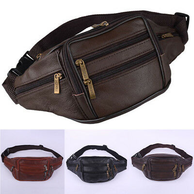 cd516ad958fb Retro Leather Fanny Pack Mens Waist Belt Bag Womens Purse Hip Pouch Travel  Bag
