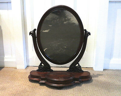 Antique Mahogany Vanity Mirror with Small Compartment with Lid, Carved Supports