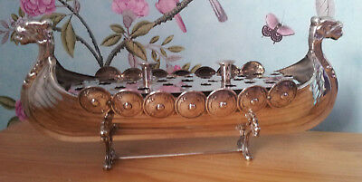 UNUSUAL Yeoman SILVER PLATED VIKING SHIP WITH STAND Antique Vintage FAB COND.